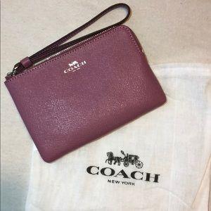 Authentic Coach CRSN LTH Corner Zip wristlet